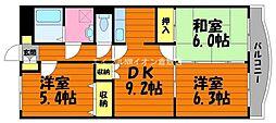 岡山県総社市福井の賃貸マンションの間取り