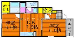 JR吉備線 足守駅 徒歩10分の賃貸アパート 1階2DKの間取り