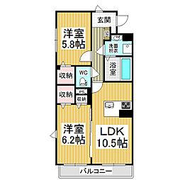JR篠ノ井線 村井駅 徒歩19分の賃貸マンション 3階2LDKの間取り