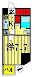 都営新宿線 西大島駅 徒歩4分の賃貸マンション 13階1Kの間取り