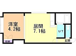 クリエイト東札幌2-4 2階1DKの間取り