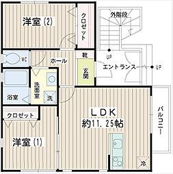 神奈川県横浜市港北区綱島東6丁目の賃貸アパートの間取り