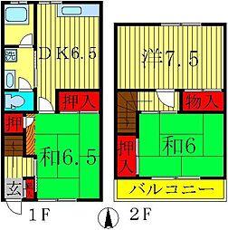 [テラスハウス] 千葉県鎌ケ谷市南初富3丁目 の賃貸【/】の間取り