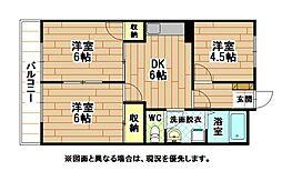福岡県北九州市八幡西区友田1丁目の賃貸マンションの間取り