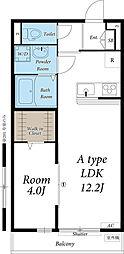 JR武蔵野線 府中本町駅 徒歩14分の賃貸アパート 2階1LDKの間取り