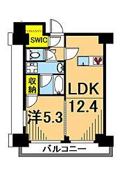 LUXENA東品川 7階1LDKの間取り