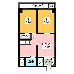 丸二マンション1 中嶋貸家[5階]の間取り
