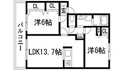 リーブラ東多田3[2階]の間取り