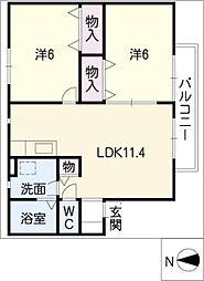 ふれんど桂[1階]の間取り