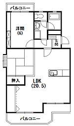 静岡県浜松市中区高丘北1の賃貸マンションの間取り