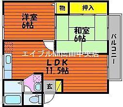 岡山県岡山市南区当新田の賃貸アパートの間取り