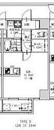 ロダン広島通り 7階ワンルームの間取り
