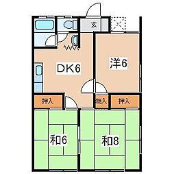 ピアコート城ケ崎[102号室]の間取り