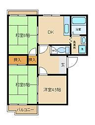 兵庫県姫路市広畑区高浜町3丁目の賃貸アパートの間取り