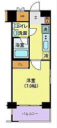 JR中央本線 立川駅 徒歩9分の賃貸マンション 7階1Kの間取り