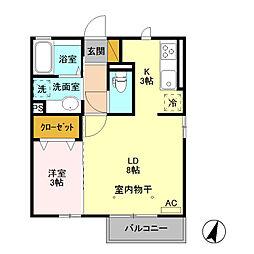 (仮)D-room藤岡[201号室]の間取り