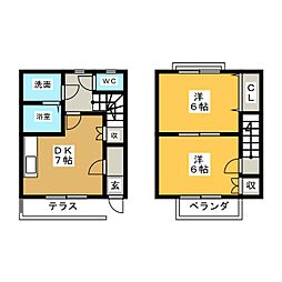 [テラスハウス] 愛知県あま市木田道下 の賃貸【/】の間取り