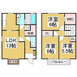 [テラスハウス] 長野県松本市横田1丁目 の賃貸【長野県 / 松本市】の間取り