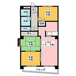 ファミーユ植田東[4階]の間取り