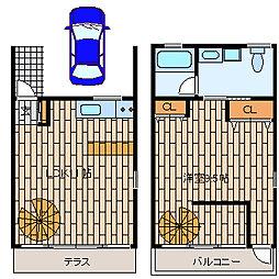 [テラスハウス] 神奈川県藤沢市本鵠沼2丁目 の賃貸【/】の間取り