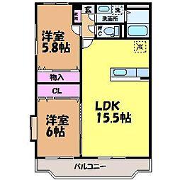 愛媛県松山市東石井5丁目の賃貸マンションの間取り