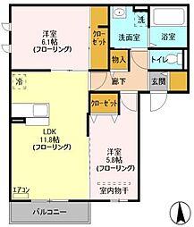 埼玉県川口市石神1661丁目の賃貸アパートの間取り