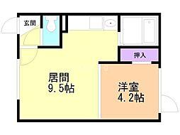 Mimosa桜町A 2階1DKの間取り