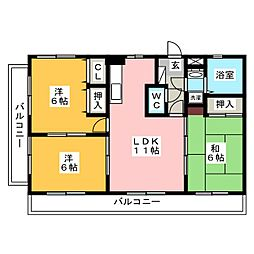 ホワイトヴィラ[2階]の間取り