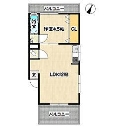 兵庫県神戸市長田区上池田5丁目の賃貸マンションの間取り