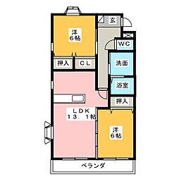 愛知県名古屋市緑区神の倉2丁目の賃貸マンションの間取り