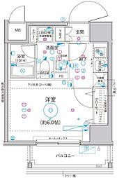 Le'a横濱関内弐番館 8階1Kの間取り