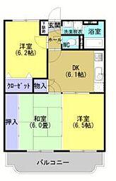 ション・ドゥ・ソレイユ 3階3DKの間取り
