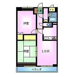 エスポワール大島 4階2LDKの間取り