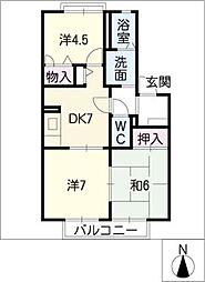 ハナミズキ安田3 N棟[2階]の間取り