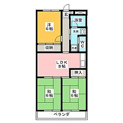 エステート15[3階]の間取り