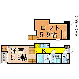 愛知県名古屋市西区八筋町の賃貸アパートの間取り