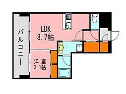 LANDICK320 13階1LDKの間取り