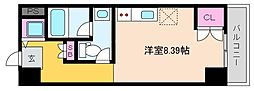 阪神本線 深江駅 徒歩1分の賃貸マンション 9階ワンルームの間取り