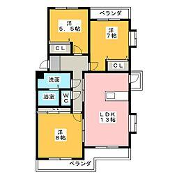シャルマンシャトー[2階]の間取り