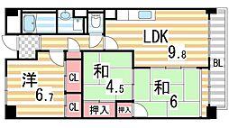 サニーヒル忍ケ丘[807号室]の間取り