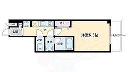 ヴィラ岡崎神宮 3階1Kの間取り