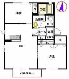 グランパルク本城 B棟[2階]の間取り