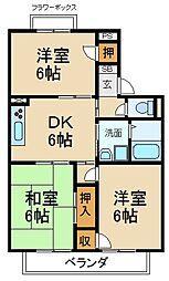 大阪府交野市星田2丁目の賃貸アパートの間取り
