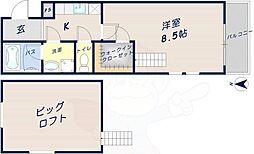 エトワール喜里川 2階1Kの間取り