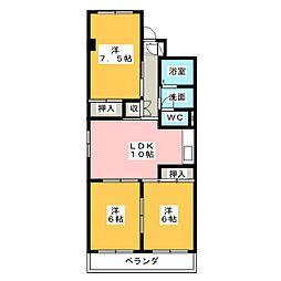 コスモハイツIII[4階]の間取り