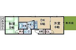 キャロル北桜塚[101号室]の間取り