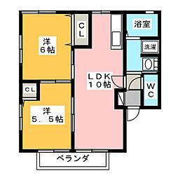 エスポワールA・B[1階]の間取り