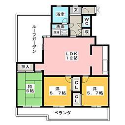 ホワイトキャッスル岩倉2  601号[5階]の間取り