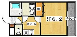 エクレール南中振[1階]の間取り