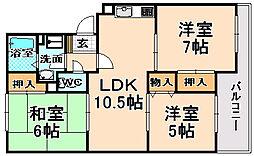 兵庫県伊丹市荻野7丁目の賃貸マンションの間取り